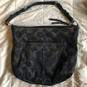 Black canvas monogram Coach bag